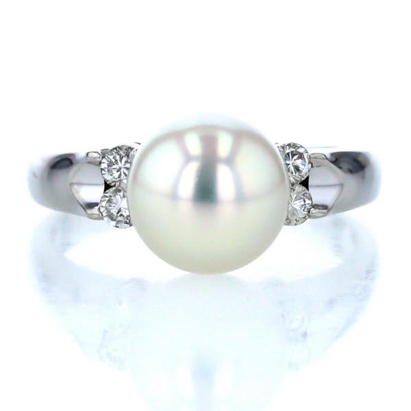 Pt900 プラチナ リング 真珠 8.8mm ダイヤモンド 0.20ct 指輪 デザイン シンプル 12号 【新品仕上済】【af】【送料無料】
