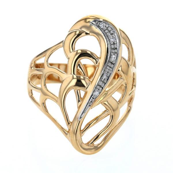 K18YG イエローゴールド Pt900 プラチナ リング ダイヤモンド 0.04ct 透かし ウェーブ 幅広 19号 指輪 【新品仕上済】【pa】【中古】【送料無料】