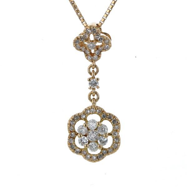 K18YG イエローゴールド ネックレス ダイヤモンド 0.39ct フラワー 花 植物 スウィング 透かし 45cm【新品仕上済】【af】【中古】【送料無料】