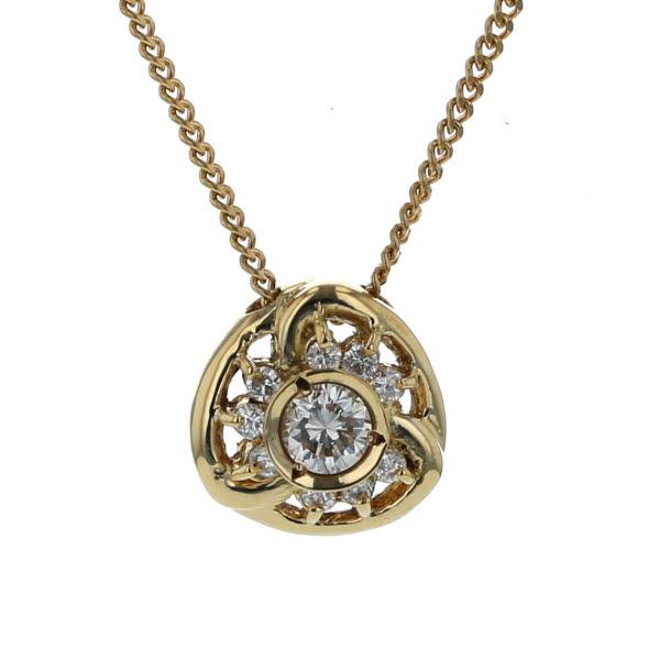 K18YG イエローゴールド ネックレス ダイヤモンド 0.30ct 2面喜平チェーン ラウンド デザイン 40cm【新品仕上済】【af】【中古】【送料無料】