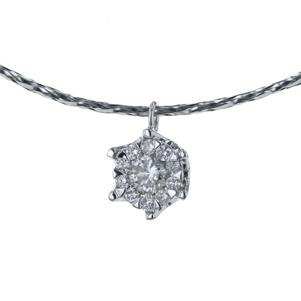 K18WG ホワイトゴールド ネックレス ダイヤモンド 0.32ct チョーカーネックレス 取り巻き 44cm【新品仕上済】【af】【中古】【送料無料】