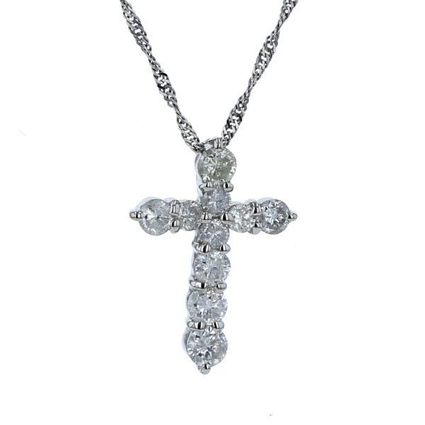 Pt850 Pt900 プラチナ ネックレス ダイヤモンド 0.53ct クロス 十字架 デザイン 40cm 【新品仕上済】【pa】【中古】【送料無料】