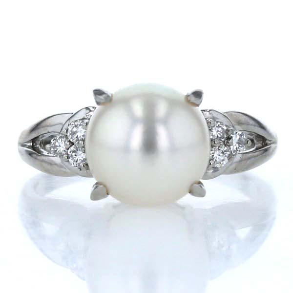Pt900 プラチナ リング 真珠 パール9.1mm ダイヤモンド0.12ct サイドストーン シンプル 12号 指輪【新品仕上済】【pa】【中古】【送料無料】