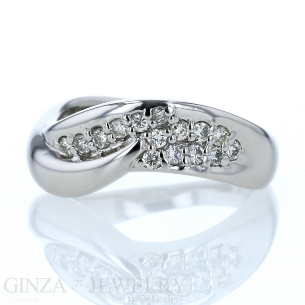 Pt900 プラチナ リング ダイヤモンド 0.30ct ウェーブ デザイン 指輪 11.5号【新品仕上済】【pa】【中古】【送料無料】