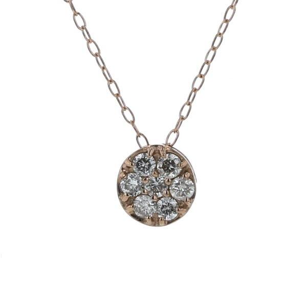 K18PG ピンクゴールド ネックレス ダイヤモンド 0.15ct サークル デザイン 39.5cm【新品仕上済】【af】【中古】【送料無料】