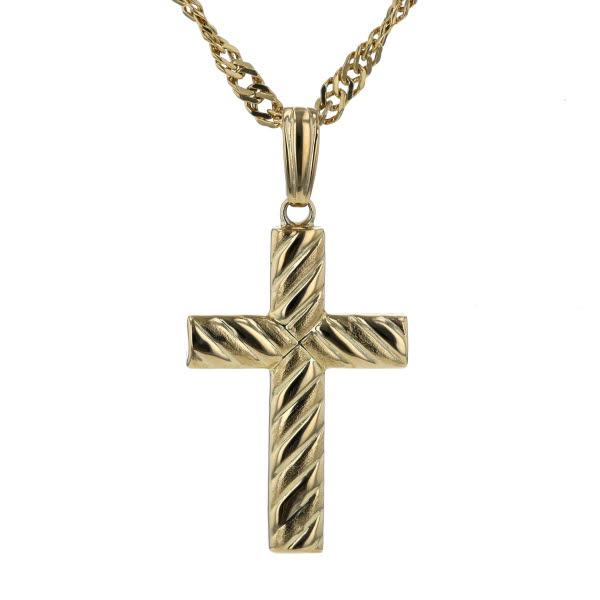 K18YG イエローゴールド ネックレス クロス 十字架 スクリューチェーン メンズ レディース 50cm【新品仕上済】【af】【中古】【送料無料】