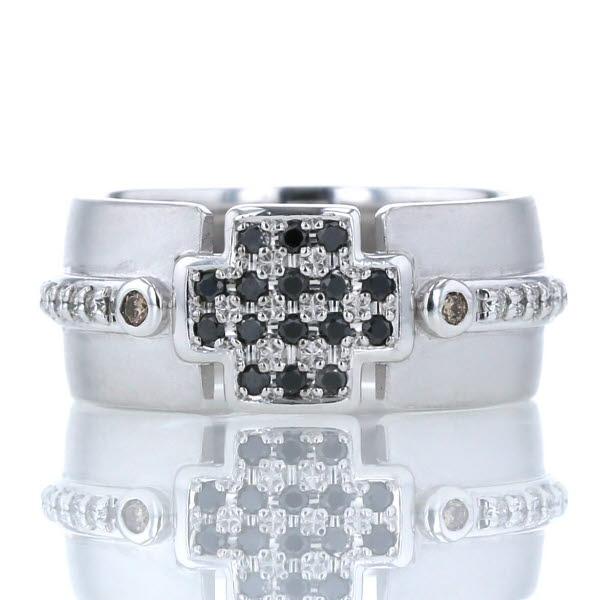 K18WG ホワイトゴールド リング ダイヤモンド 0.32ct クロス 十字架 パヴェ つや消し マット デザイン 指輪 16号 幅広【新品仕上済】【pa】【中古】【送料無料】