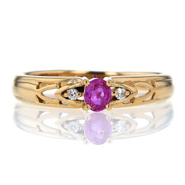 K18YG イエローゴールド リング ピンクサファイア 0.20ct ダイヤモンド 0.02ct 透かし デザイン 指輪 8.5号【新品仕上済】【el】【中古】【送料無料】