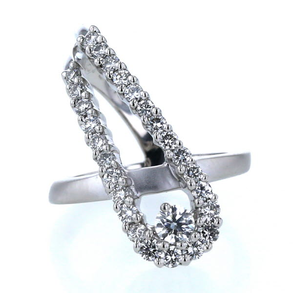 KARATI カラッチ K18WG ホワイトゴールド リング ダイヤモンド 0.50ct/0.133ct ライン クロス ピンキー 指輪 3.5号 箱【新品仕上済】【pa】【中古】【送料無料】