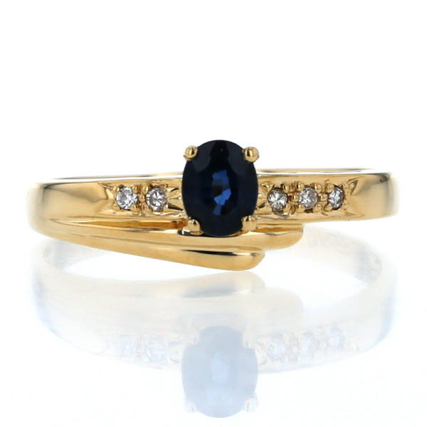 K18YG イエローゴールド リング サファイア 0.41ct ダイヤモンド 0.04ct ラウンド 扇状 デザイン 指輪 16号【新品仕上済】【el】【中古】【送料無料】