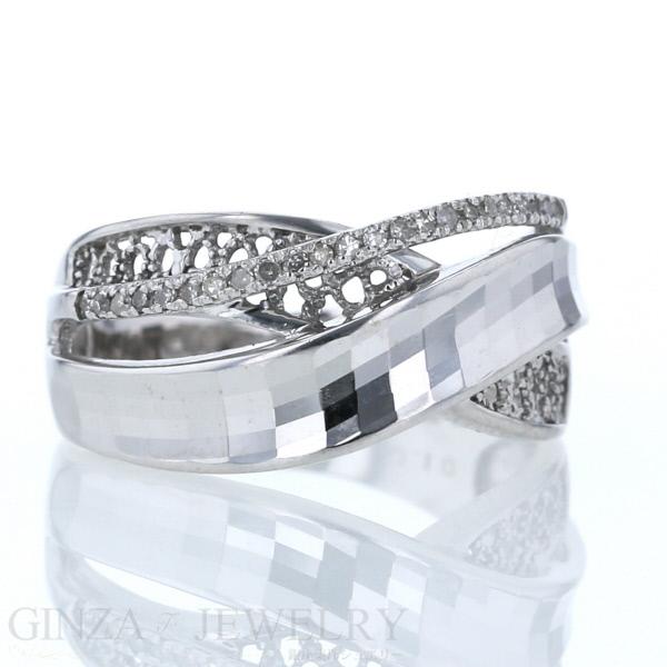 K14WG ホワイトゴールド リング カット デザイン ダイヤモンド 0.10ct クロス 14号 指輪【新品仕上済】【el】【中古】【送料無料】