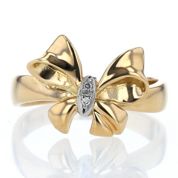 K18YG イエローゴールド Pt900 プラチナ リング ダイヤモンド リボン デザイン 指輪 10.5号【新品仕上済】【af】【中古】【送料無料】