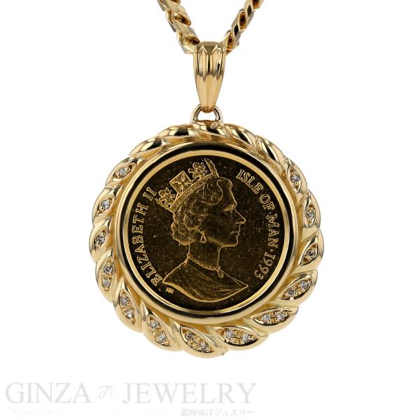 K18 イエローゴールド ネックレス ダイヤモンド 0.11ct マン島キャットコイン 1/5oz エリザベス 42.4g 51cm 【新品仕上済】【pa】