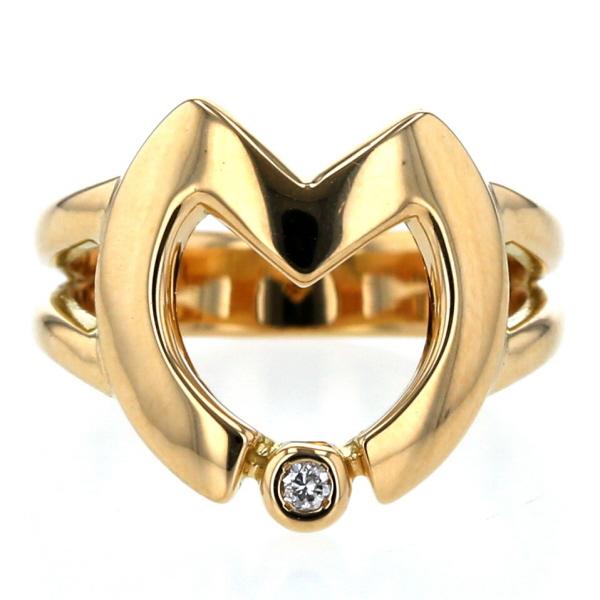 K18YG イエローゴールド ダイヤモンド 0.02ct ハート 透かし 幅広 イニシャル M 一粒石 デザイン 指輪 9号 【新品仕上済】【af】【中古】【送料無料】