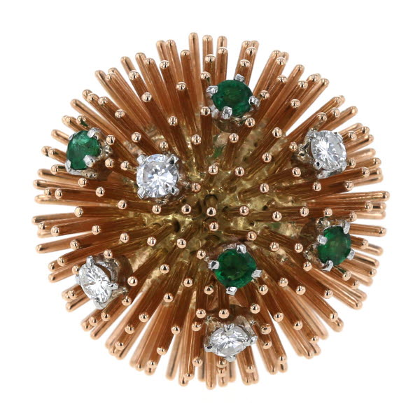 K14PG ピンクゴールド リング エメラルド 0.42ct ダイヤモンド 0.44ct ボール トゲトゲ 針 指輪 14号【新品仕上済】【el】【中古】【送料無料】