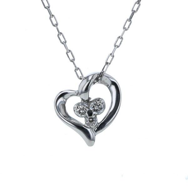 4°C ヨンドシー K10WG ホワイトゴールド ネックレス ダイヤモンド 3石 オープンハート 透かし 40cm【新品仕上済】【af】【中古】【送料無料】