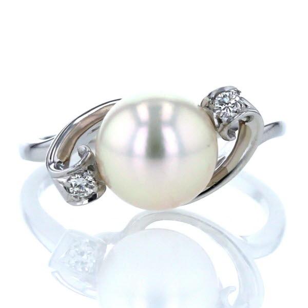 MIKIMOTO ミキモト K14WG ホワイトゴールド リング 真珠 パール 8.0mm ダイヤモンド デザイン 指輪 8.5号【新品仕上済】【pa】【中古】【送料無料】