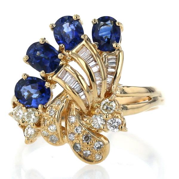 K18YG イエローゴールド リング サファイア マーケット 2.05ct ダイヤモンド 0.59ct 花 リボン 20号 デザイン 新品仕上済 ブランド激安セール会場 指輪 中古 送料無料 zz