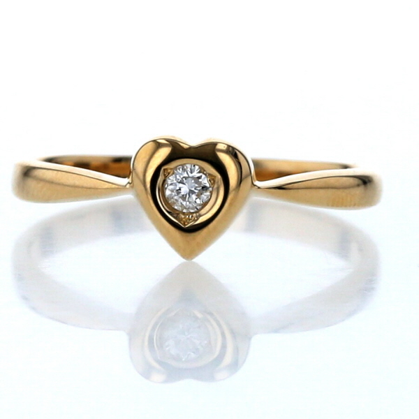 K18YG イエローゴールド ダイヤモンド 0.05ct ハート シンプル デザイン 指輪 9.5号【新品仕上済】【zz】【送料無料】