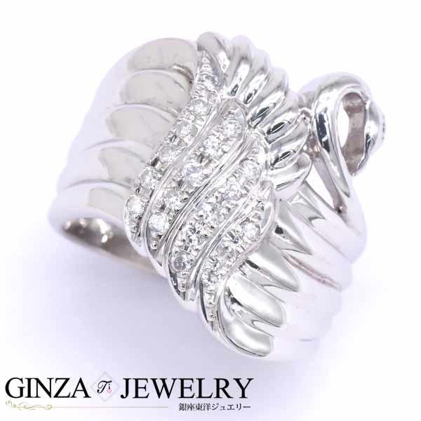 Pt900 プラチナ リング ダイヤモンド 0.22ct 白鳥 スワンモチーフ 幅広 11号 指輪 【新品仕上済】 【zz】【中古】【送料無料】