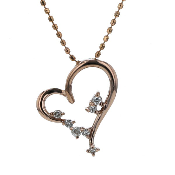 K18PG ピンクゴールド ネックレス ダイヤモンド 0.08ct オープンハート デザイン 40cm【新品仕上済】【af】【中古】【送料無料】
