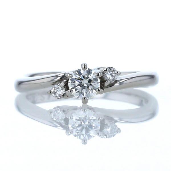Pt900 贈呈 プラチナ 超定番 リング ダイヤモンド 0.215ct 0.052ct ウェーブ サイドストーン 中古 デザイン 新品仕上済 送料無料 zz 6号 指輪