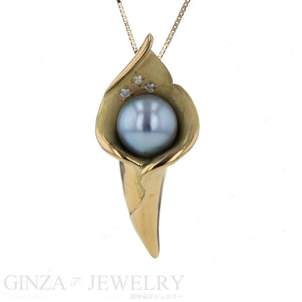 K18YG イエローゴールド ネックレス ダイヤモンド 0.03ct 真珠 パール 8.3mm デザイン チェーン 42cm【新品仕上済】【zz】【中古】【送料無料】