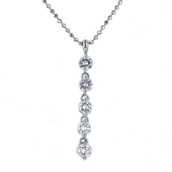 Pt850 Pt900 プラチナ ネックレス 市場 ダイヤモンド 0.710ct ボール チェーン 45cm デザイン 毎週更新 ライン 送料無料 新品仕上済 af 中古