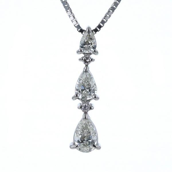 K14WG ホワイトゴールド ネックレス ダイヤモンド 0.50ct 3石 雫 ペアシェイプカット トリロジー ライン 40cm【新品仕上済】【el】【中古】【送料無料】