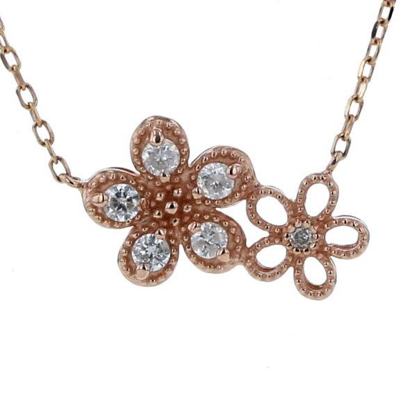 K10PG ピンクゴールド ネックレス ダイヤモンド 0.12ct 花 フラワー デザイン チェーン 42.5cm【新品仕上済】【pa】【中古】【送料無料】