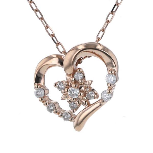 4℃ ヨンドシー K10PG ピンクゴールド ネックレス ダイヤモンド ハート 花 フラワー デザイン 40cm【新品仕上済】【iw】【中古】