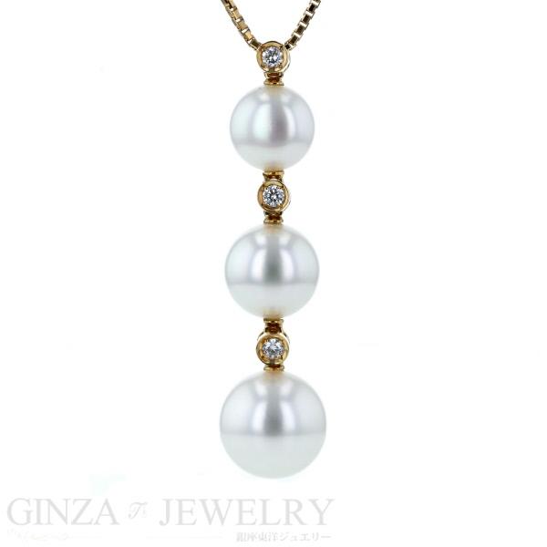 K18 イエローゴールド ネックレス パール 真珠 ダイヤモンド 0.09ct 3粒 47.5cm アジャスター付 【新品仕上済】【af】