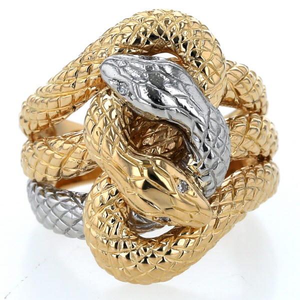 K18YG Pt900 イエローゴールド プラチナ リング ダイヤモンド 0.02ct 蛇 スネーク 動物 アニマルデザイン 指輪 12号 【新品仕上済】【zz】【中古】【送料無料】
