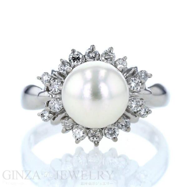 Pt900 プラチナ リング 真珠 パール 9.3mm ダイヤモンド 0.50ct 指輪 18号 取り巻き デザイン 【新品仕上済】【zz】【中古】 【送料無料】
