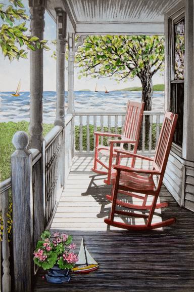 キャロル・コレット「Summer Serenity」Collette 手彩色銅版画選べる新品額付 国内 送料無料