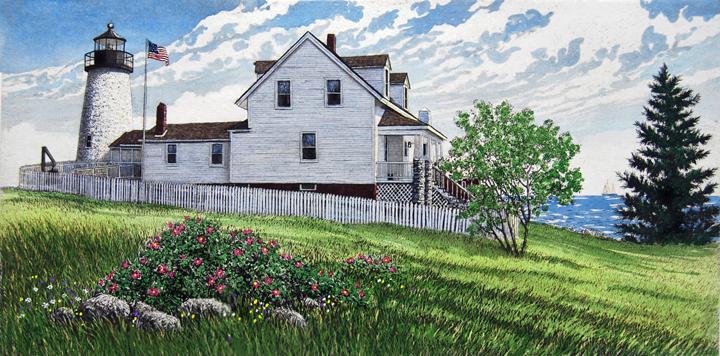 キャロル・コレット 「Pemaquid Point Lighthouse」Collette 手彩色銅版画選べる新品額付 国内 送料無料