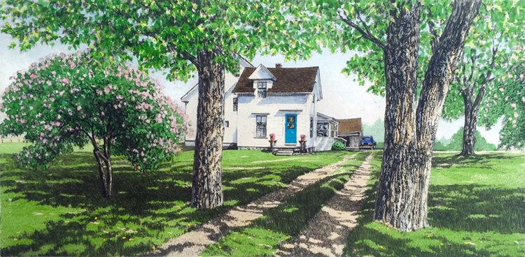 キャロル・コレット 「Coming Home 」Collette 手彩色銅版画選べる新品額付 国内 送料無料