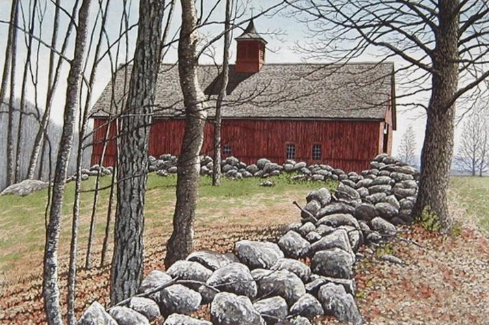 キャロル・コレット 「Red Barn」Collette 手彩色銅版画選べる新品額付 国内 送料無料