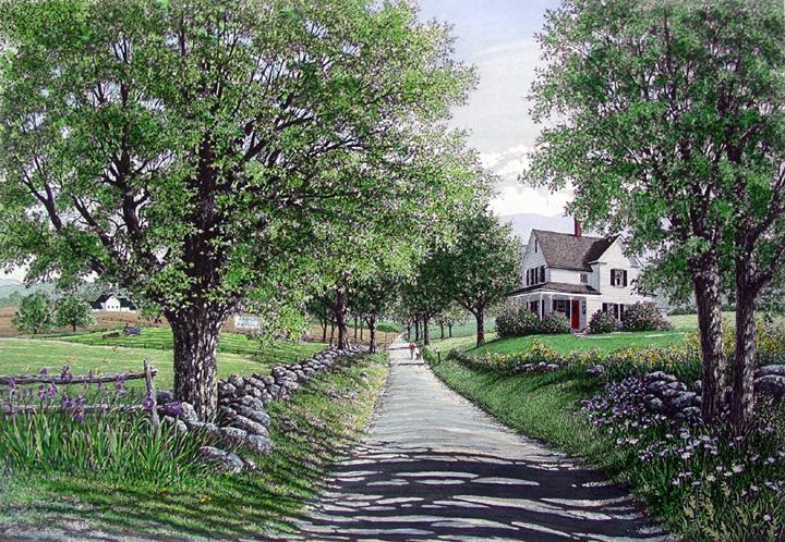 海外版元より作品シート取寄せ済キャロル・コレット 「Country Road」 額付版画作品