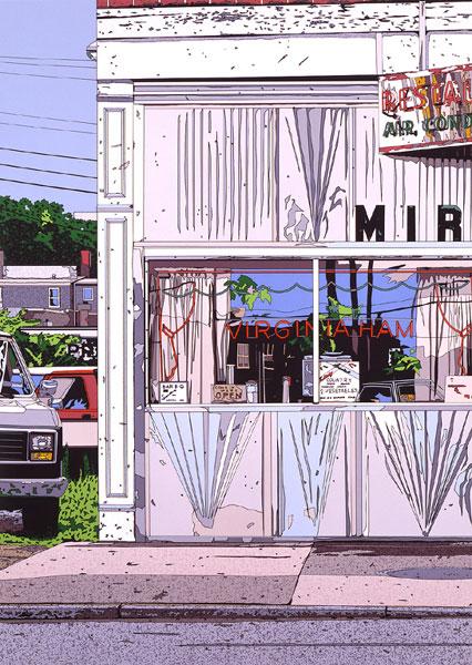 鈴木英人「VIRGINIA HAM」1986年 シルクスクリーン 額付版画作品国内 送料無料
