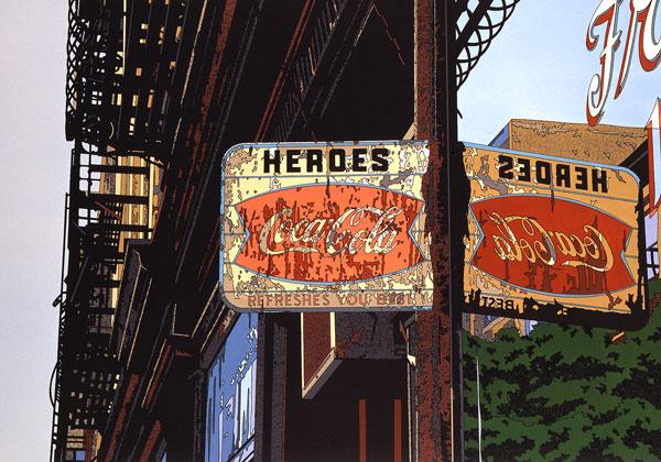 鈴木英人「HEROES」1987年 リトグラフ 額付版画作品国内 送料無料