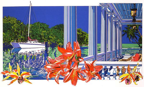 鈴木英人「入江に輝く白いデッキ」 -A SHINY WHITE DECK IN THE INLET-1992年 リトグラフ 額付版画作品国内 送料無料残僅少