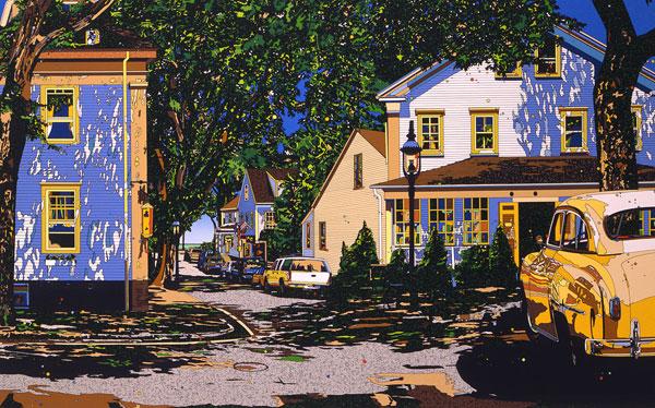 鈴木英人「君住む街角」-YOUR ISLAND- 1996年 シルクスクリーン 額付版画作品 国内送料無料