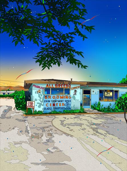 鈴木英人「下町のエステハウス」2013年 EMグラフ 額付版画作品国内 送料無料