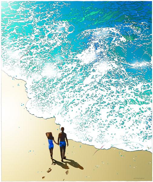 鈴木英人「パラダイス フォー ユー」-PARADISE FOR YOU- 2002年 EMグラフ 額付版画作品 国内 送料無料
