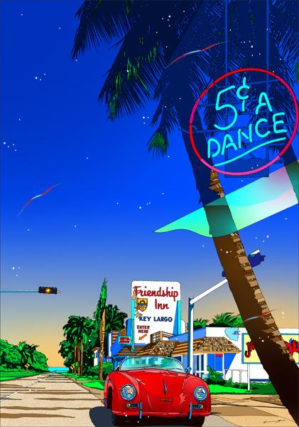 鈴木英人「快晴の南の島 2」-SOUTHERN ISLAND ON A CLEAR DAY II- 2012年 EMグラフ 額付版画作品国内 送料無料