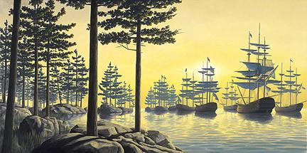 ロブ・ゴンサルヴェス 「Sailing Islands」Rob Gonsalves ジグレー版画選べる新品額付 国内 送料無料