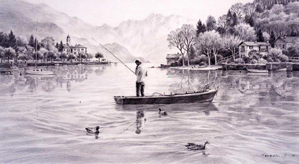 笹倉鉄平 「自分の中の少年」 2001年 リトグラフ 額付版画作品