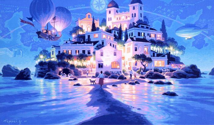 笹倉鉄平 「ボン・ビアッジョ」 2002年 シルクスクリーン 額付版画作品