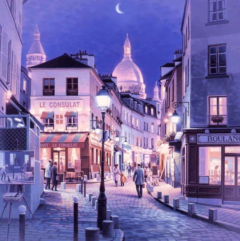 笹倉 鉄平 「モンマルトル」Montmartre2017年7月リリース キャンバス・ジグレー 額付版画作品【送料無料】